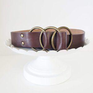 Brown Vintage Gold Three Ring Circle Belt M